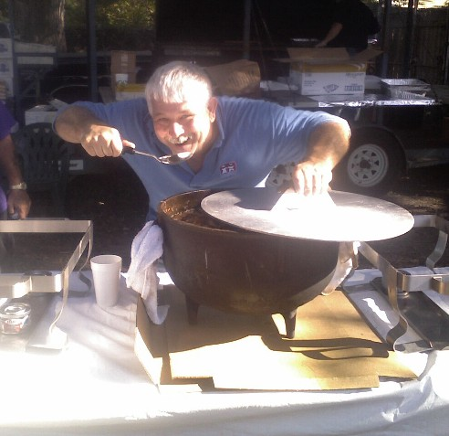 Dave Willis gets his serving of Jambalaya!