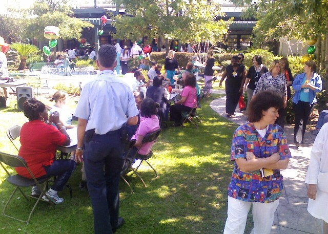 Children's Hospital Picnic, the food line is starting to form!!