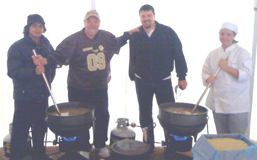 Sanjay, Myself, Tim Kellen and Angie Havens, cook Jambalaya