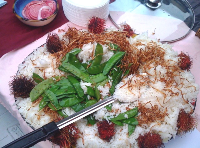 Basmati Rice with Deep Fried Bean Sprouts, Snow Peas and Lychee Nuts